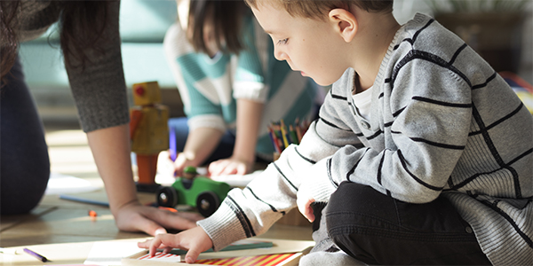 Woman homeschooling children
