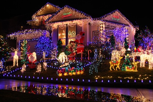 single family home with large holiday light display