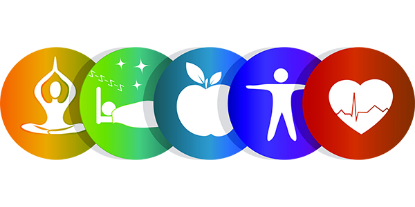 Circle icons healthy heart, food, good sleep, yoga